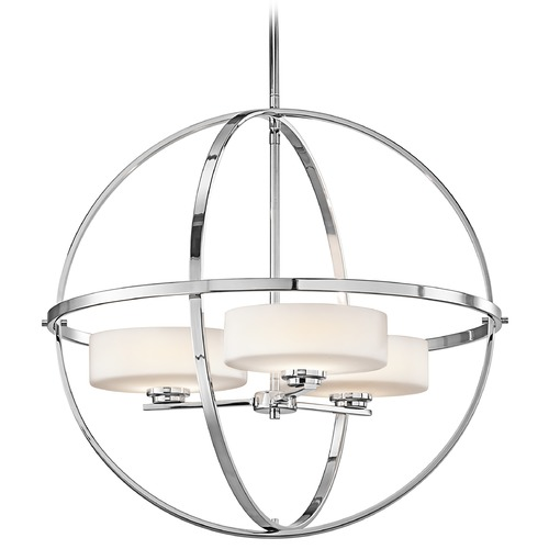 Kichler Lighting Kichler Modern Drum Pendant Light with White Glass in Chrome Finish 42505CH