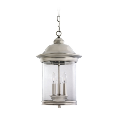 Sea Gull Lighting Outdoor Hanging Light with Clear Glass in Antique Brushed Nickel Finish 60081-965