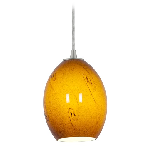 Access Lighting Modern Mini-Pendant Light with Amber Glass 28023-1C-BS/ASKY