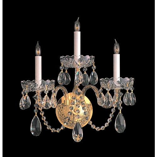 Crystorama Lighting Crystal Sconce Wall Light in Polished Brass Finish 1103-PB-CL-SAQ