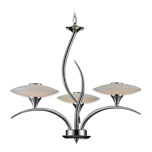 Elk Lighting Modern LED Chandelier with White Glass in Chrome Finish 81003/3