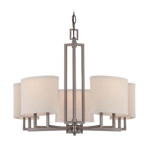 Nuvo Lighting Modern Chandelier with Beige / Cream Shades in Hazel Bronze Finish 60/4855