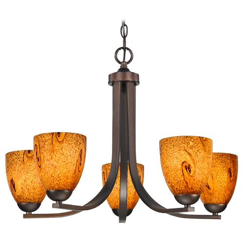 Design Classics Lighting Modern Chandelier with Brown Art Glass in Neuvelle Bronze Finish 584-220 GL1001MB