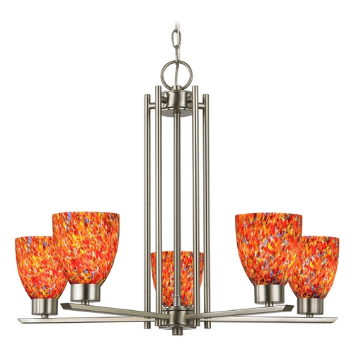 Design Classics Lighting Chandelier with Art Glass in Satin Nickel - 5-Lights 1120-1-09 GL1012MB