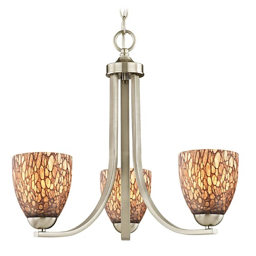 Design Classics Lighting Satin Nickel Mini-Chandelier 5843-09 GL1016MB