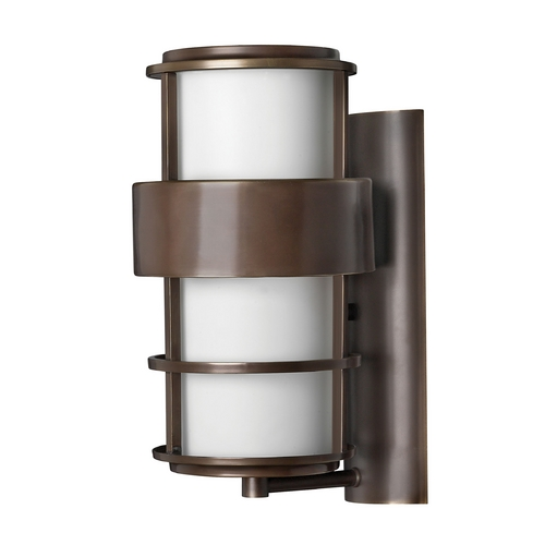 Hinkley Lighting Outdoor Wall Light with White Glass in Metro Bronze Finish 1904MT-GU24