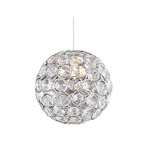ET2 Lighting Brilliant Polished Chrome Mini-Pendant Light with Globe Shade E94370-20PC