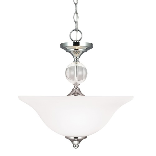 Sea Gull Lighting Sea Gull Chrome and Crystal Dual Mount Pendant to Ceiling Flush Light 7713402-05