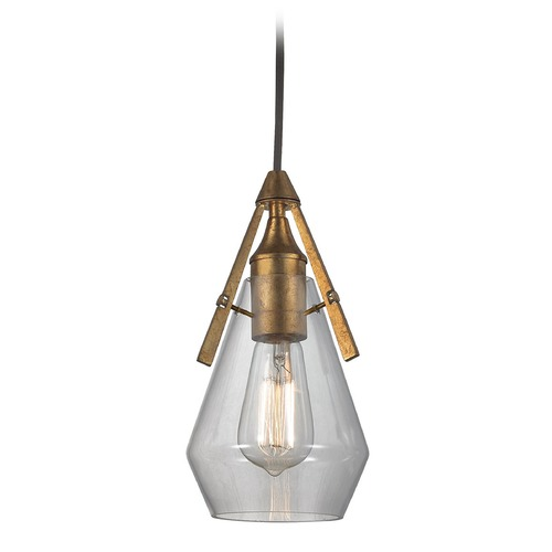 Elk Lighting Elk Lighting Duncan Antique Gold Leaf Mini-Pendant Light with Bowl / Dome Shade 46170/1