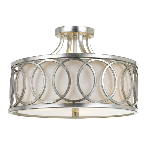 Crystorama Lighting Crystorama Lighting Graham Antique Silver Semi-Flushmount Light 285-SA