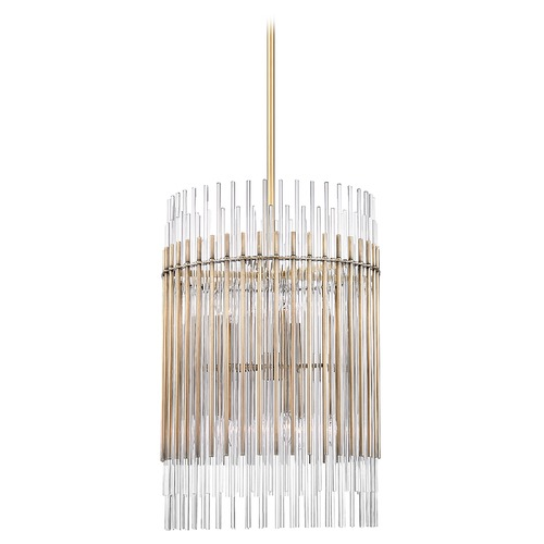 Hudson Valley Lighting Hudson Valley Lighting Wallis Aged Brass Pendant Light with Cylindrical Shade 6320-AGB