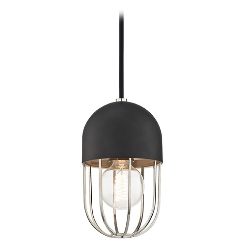 Hudson Valley Lighting Mid-Century Modern Mini-Pendant Light Polished Nickel Mitzi Haley by Hudson Valley H145701-PN/BK