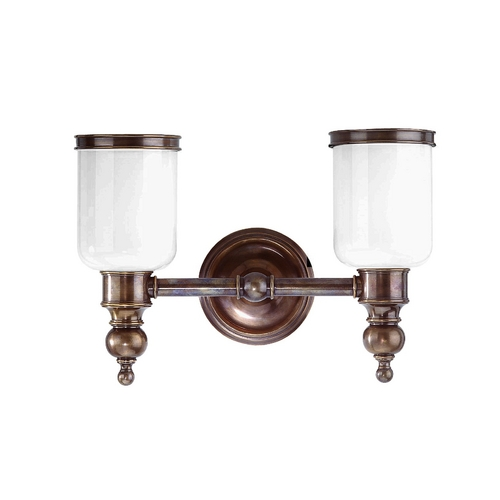 Hudson Valley Lighting Bathroom Light with White Glass in Distressed Bronze Finish 6302-DB
