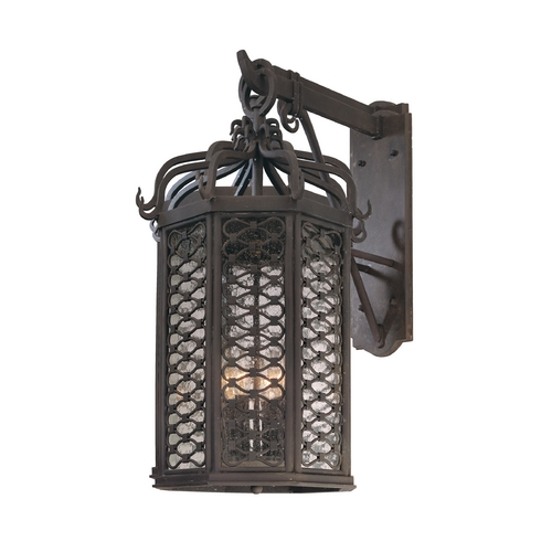 Troy Lighting Outdoor Wall Light with Clear Glass in Old Iron Finish B2374OI
