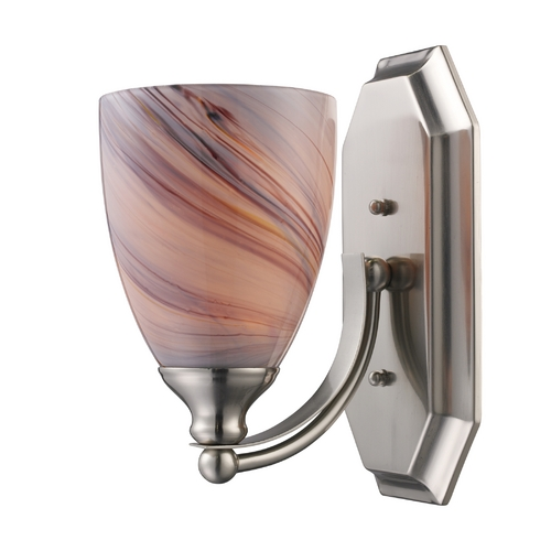 Elk Lighting Sconce with Art Glass in Satin Nickel Finish 570-1N-CR