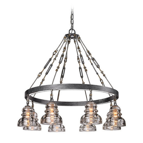 Troy Lighting Chandelier with Clear Glass in Old Silver Finish F3136