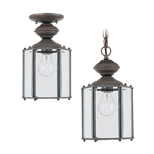 Sea Gull Lighting Outdoor Hanging Light with Clear Glass in Sienna Finish 6008-26