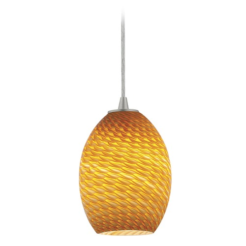 Access Lighting Modern Mini-Pendant Light with Amber Glass 28023-1C-BS/AMBFB