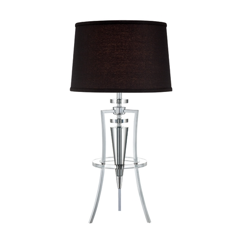 Lite Source Lighting Lite Source Lighting Triocof Chrome / Black Table Lamp with Drum Shade LS-22097C/BLK