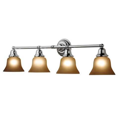 Design Classics Lighting Four-Light Bathroom Vanity Light with Amber Bell Shades 674-26/G9999 KIT