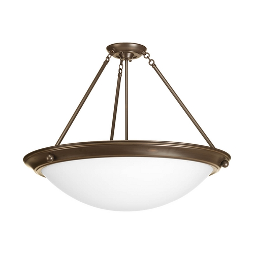 Progress Lighting Semi-Flushmount Light with White Glass in Antique Bronze Finish P7320-20WB