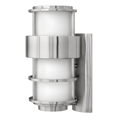 Hinkley Lighting Outdoor Wall Light with White Glass in Stainless Steel Finish 1904SS-GU24