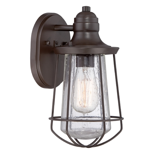 Quoizel Lighting Seeded Glass Outdoor Wall Light Bronze Quoizel Lighting MRE8406WT