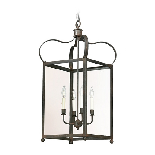 Troy Lighting Pendant Light with Clear Glass in Natural Rust Finish F8922NR