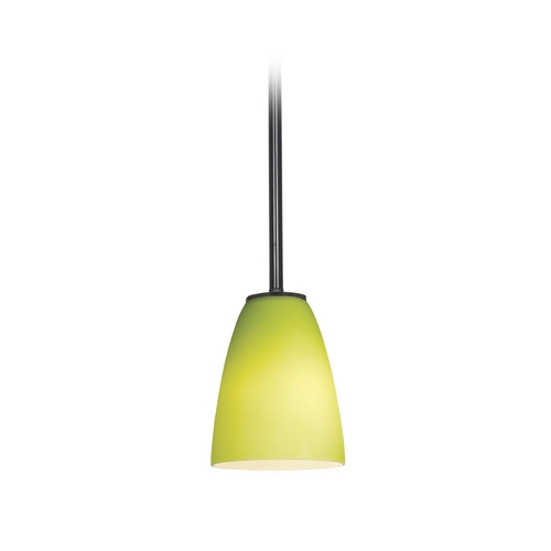 Access Lighting Modern Mini-Pendant Light with Green Glass 28022-2R-ORB/LGR