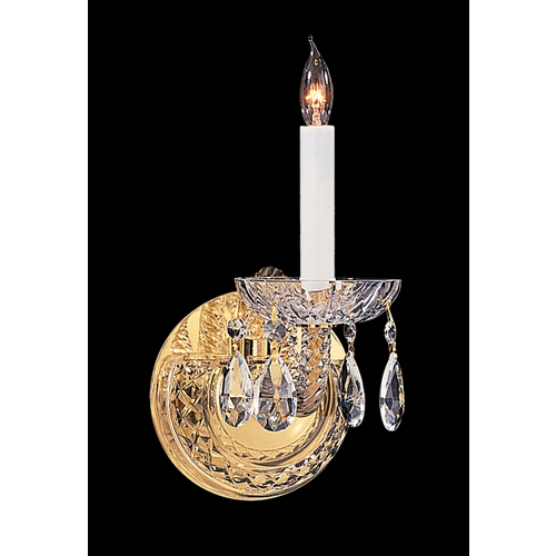 Crystorama Lighting Sconce Wall Light in Polished Brass Finish 1121-PB-CL-S