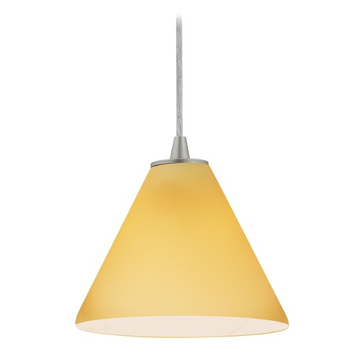 Access Lighting Access Lighting Martini Brushed Steel Mini-Pendant Light with Conical Shade 28004-1C-BS/AMB