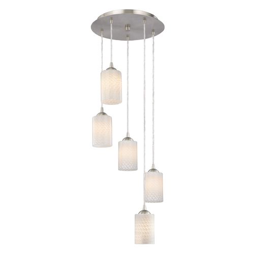Design Classics Lighting Contemporary Multi-Light Pendant Light with White Art Glass 580-09 GL1020C