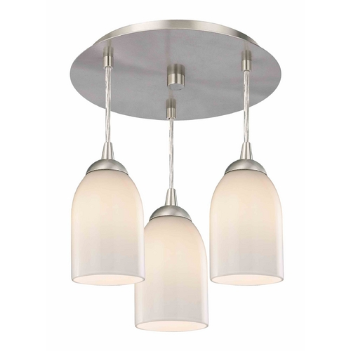 Design Classics Lighting 3-Light Semi-Flush Ceiling Light with Opal White Glass - Nickel Finish 579-09 GL1024D
