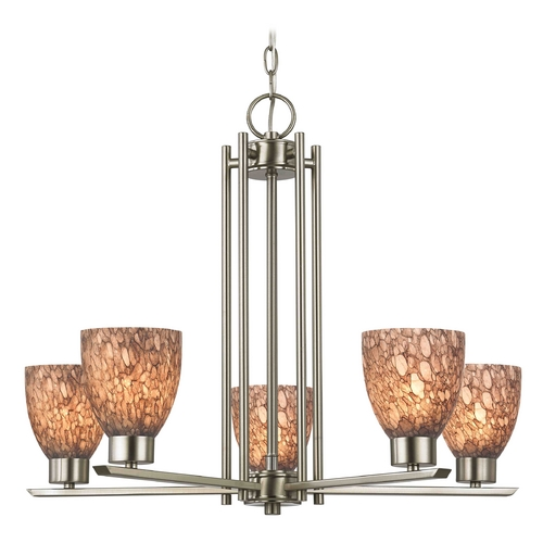 Design Classics Lighting Chandelier with Brown Art Glass in Satin Nickel - 5-Lights 1120-1-09 GL1016MB