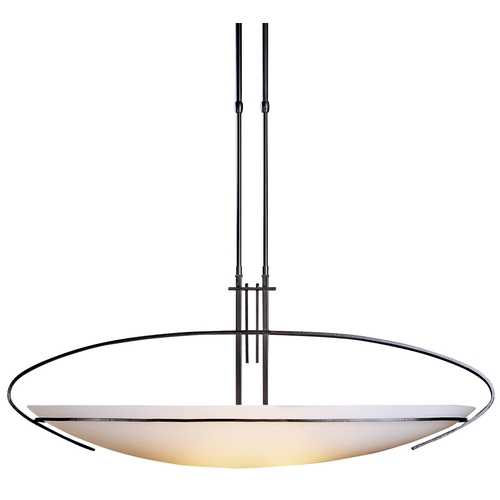 Hubbardton Forge Lighting Modern Pendant Light with White Glass in Dark Smoke Finish 134328-07