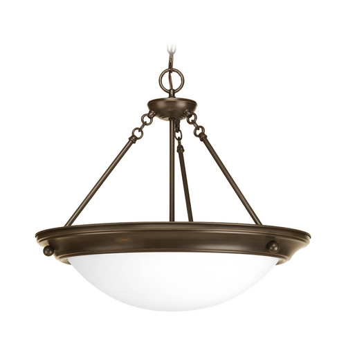 Progress Lighting Pendant Light with White Glass in Antique Bronze Finish P7322-20WB