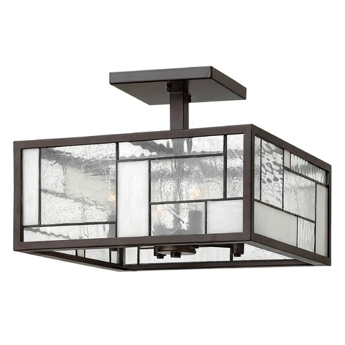 Hinkley Lighting Semi-Flushmount Light with Copper Glass in Buckeye Bronze Finish 4571KZ