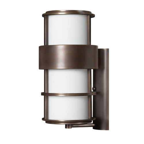 Hinkley Lighting Outdoor Wall Light with White Glass in Metro Bronze Finish 1905MT-GU24