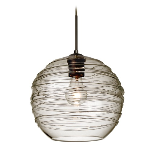 Besa Lighting Besa Lighting Wave Bronze Pendant Light with Globe Shade 1JT-462702-BR