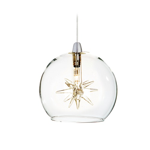 ET2 Lighting Starburst Satin Nickel Mini-Pendant Light with Globe Shade E94372-24SN