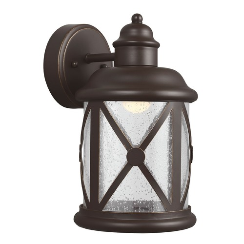 Sea Gull Lighting Seeded Glass LED Outdoor Wall Light Bronze Sea Gull Lighting 8621492S-71