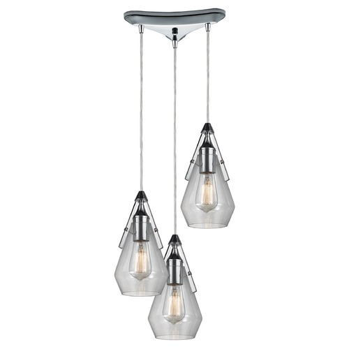 Elk Lighting Elk Lighting Duncan Polished Chrome Multi-Light Pendant with Bowl / Dome Shade 46171/3