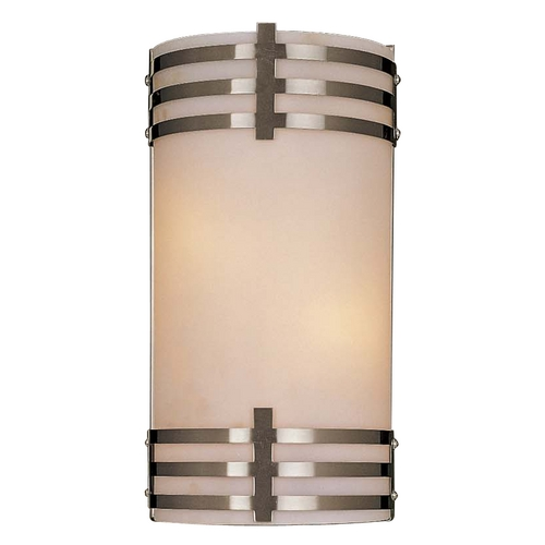 Minka Lavery Modern Sconce Wall Light with White Glass in Brushed Nickel Finish 344-84