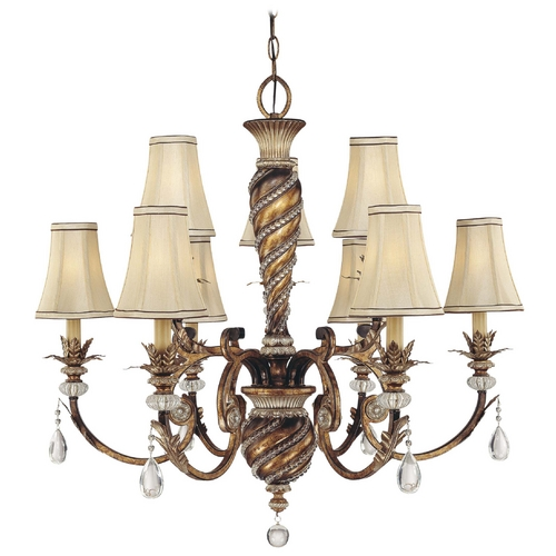Minka Lavery Chandelier with Beige / Cream Shades in Aston Court Bronze Finish 1748-206