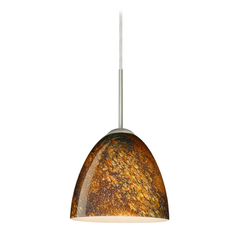 Besa Lighting Modern Pendant Light with Multi-Color Glass in Satin Nickel Finish 1JT-4470CE-SN