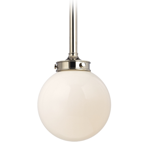 Hudson Valley Lighting Modern Pendant Light with White Glass in Polished Nickel Finish 8811-PN
