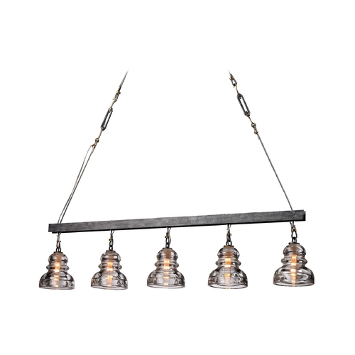 Troy Lighting Island Light with Clear Glass in Old Silver Finish F3138