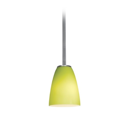 Access Lighting Modern Mini-Pendant Light with Green Glass 28022-2R-BS/LGR