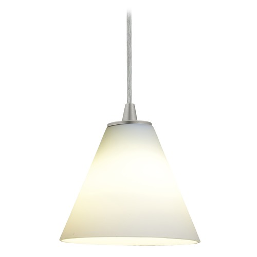 Access Lighting Access Lighting Martini Brushed Steel Mini-Pendant Light with Conical Shade 28004-1C-BS/WHT