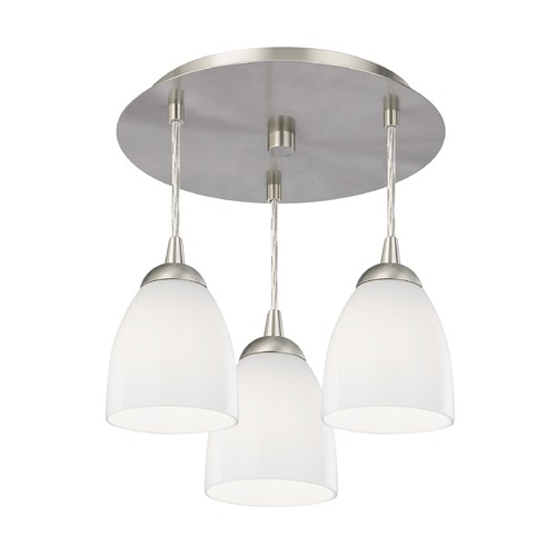 Design Classics Lighting 3-Light Semi-Flush Ceiling Light with Opal White Glass - Nickel Finish 579-09 GL1024MB